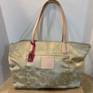 Coach tan tote with leather handles. Like new!!